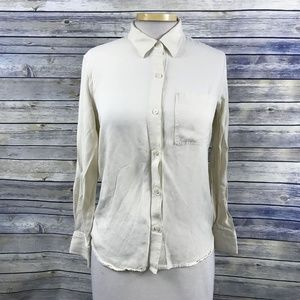 Talula Womens button down shirt Cream Collared